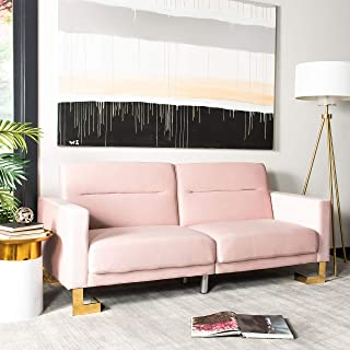 Safavieh Home Collection Tribeca Blush Pink and Brass Foldable Sofa Bed
