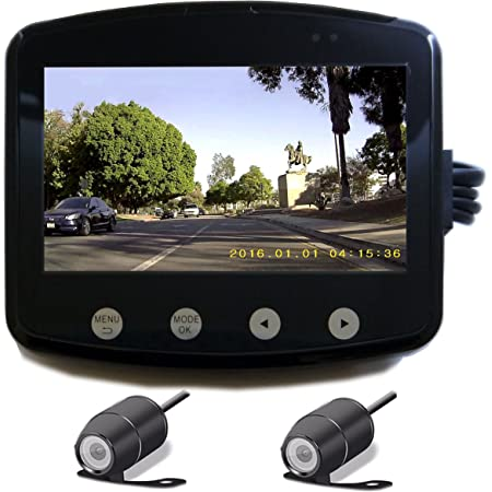 """Sykik Rider RW1 Fully Water Resistance Camera System for Motorcycles. Records Both Front and Back simultaneously. Pair of 140 Degree Wide Angle Lenses. Watch Your Back When You Ride on The Large 4.5"""""""