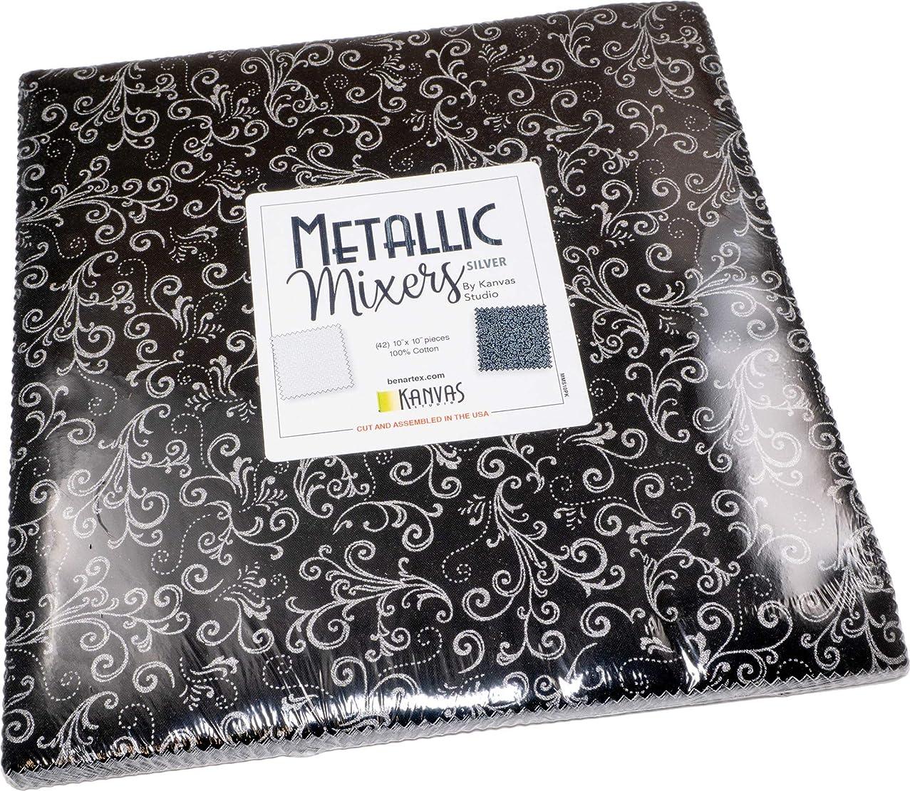 Kanvas Studio Metallic Mixers Silver 10X10 Pack 42 10-inch Squares Layer Cake Benartex