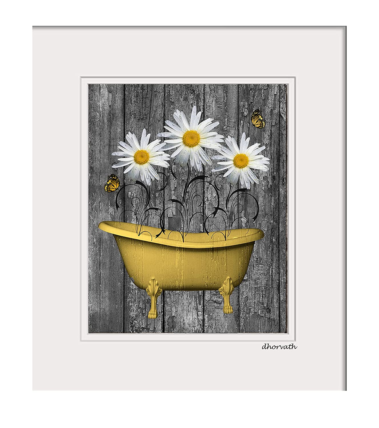 Yellow Home Decor Farmhouse Rustic Tub Daisy Pho Directly Year-end annual account managed store Flowers Vintage