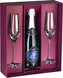 Barski - Handmade Glass - Set of 2 Champagne Flutes with Empty Space in the Center to Fit Your Own Bottle of Wine - Glasses Are Decorated with Real Swarovski Diamonds - Gift Boxed - Made in Europe