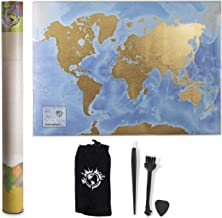 Scratch Nomad Scratch Off Map of the World (33 x 23 Inch) Vibrant Interactive Scratch World Map Poster for Travelers Printed on Heavy-Duty Paper - Includes Scratching Tools