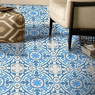 Moroccan Mosaic & Tile House CTP05-01 BAHA Handmade Cement Tile, 8''x8'', Sky White/Gray/Dark Blue
