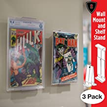 Comic Mount Comic Book Frame, Wall Mount and Shelf Stand, Invisible and Adjustable, 3 Pack