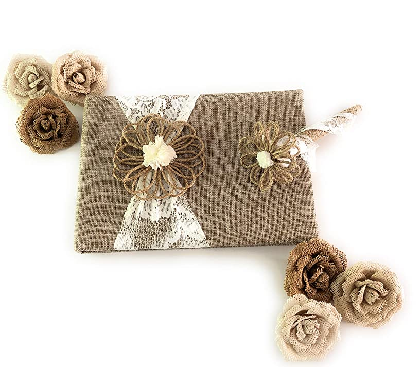 Fun Fashion Frills Burlap and Lace Guest Book, Coordinating Floral and Jute Covered Lace Pen and Flower Embellishment Set - Wedding - Anniversary - Engagement - Bridal Shower