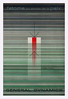 General Dynamics - Nuclear Fusion Vintage Poster (artist: Nitsche) Switzerland c. 1956 (24x36 Giclee Art Print, Gallery Framed, White Wood)