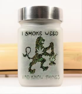 Stash Jar with Game of Thrones Inspired Lion, Pot Leaf and Bong Design - Airtight, 420 Christmas Gifts and Weed Jar