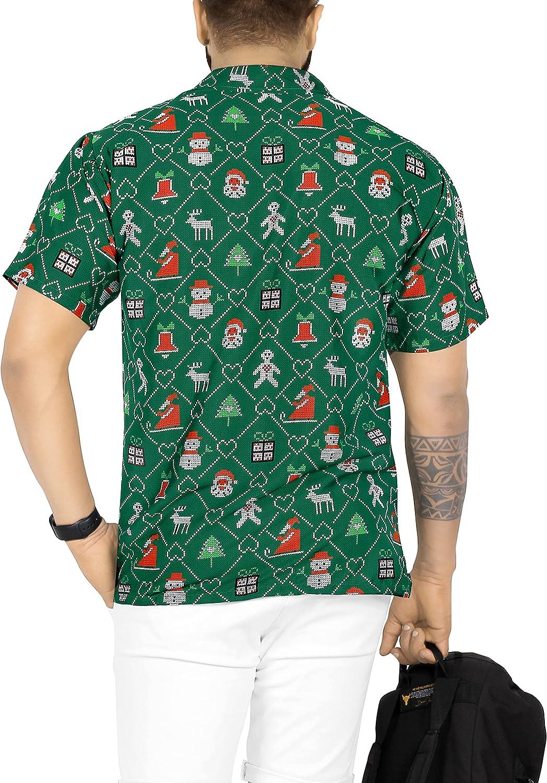 HAPPY BAY Men's Relaxed Fit Short Sleeve Ugly Santa Claus Party Hawaiian Shirts