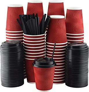 NYHI Set of 100 Red Disposable Paper Cups with Black Lids and Straws (12-oz)   Ripple Insulated Kraft for Hot Drinks - Tea & Coffee   Triple Layer Design   Eco- Friendly, Recyclable, Durable Paper