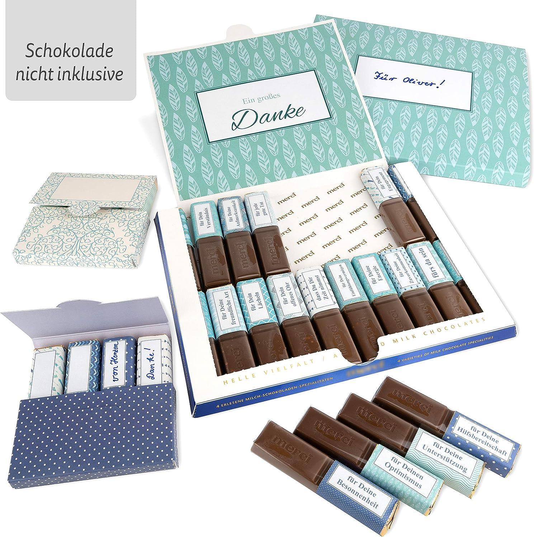 Netti Li Jae ® Aufkleber Set für Merci Schokolade inkl. Mini Schachteln –  für 20 personalisierte Geschenke – persönliche Geschenkidee – Dankeschön ...