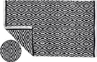 100% Cotton Diamond Rug 21x34 Hand Woven Reversible Washable Rug - Black