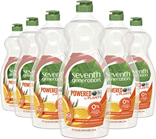 Seventh Generation Dish Liquid Soap, Clementine Zest & Lemongrass Scent, 25 oz, Pack of 6