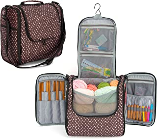PACMAXI Yarn Storage Knitting Bag-High Capacity Portable Yarn Tote Storage Organizer with Shoulder Strap and Hook for Cotton Yarns, Crochet Hooks, Knitting Needles(Up to 10 Inch) (Multicolors)