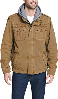 Men's Washed Cotton Military Jacket with Removable Hood...