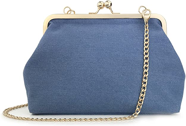 1950s Handbags, Purses, and Evening Bag Styles Hoxis Classical Kiss Lock Framed Clutch with Chain Starp Womens Shoulder Bag Purse Wallet  AT vintagedancer.com