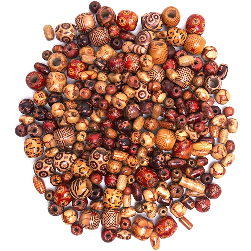 500 PCS Wood Beads for Jewelry Making Supplies for Adults, Premium Assorted Natural Wooden Bead Styles for African, Native American Designs, Macrame Bracelets, Necklaces, Hair Braids