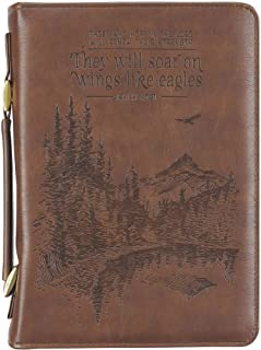 Brown Classic Bible Cover | Scenic Wilderness Wings Like Eagles Isaiah 40:21 | Bible Case Book Cover for Men and Women, Fa...
