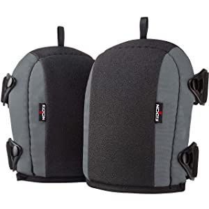 NoCry Flooring and Roofing Work Knee Pads with Soft Foam Padding, No-slip Leather Stabilizers, Heavy Duty Double Straps and Adjustable Easy-Fix Clips for Professional Men and Women. Grey