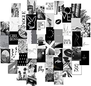 KOLL DECOR Black and White pictures for wall decor - 50 Set 4''x6'' Prints Black and White collage kit Room Collage Decoration Aesthetic Wall Collage Kit for Teen Girls
