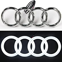 JetStyle [2018 Upgraded] LED Emblem, Compatible with Audi, Front Car Grill Badge, Auto Illuminated Logo, Glowing Rings, Lights DRL Daytime Running Lights White - Drive Brighter … (285 mm)