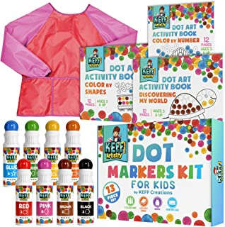 Washable Markers 13 Piece Dot Art Paint Kit Pack for Kids with Coloring Books and Smock Apron, Non Toxic Daubers Activity ...