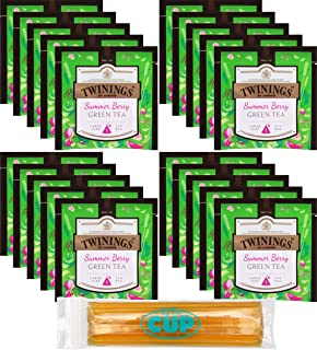 Twinings Discovery Collection Summer Berry Green Tea 20 Large Leaf Pyramid Tea Bags with By The Cup Honey Sticks