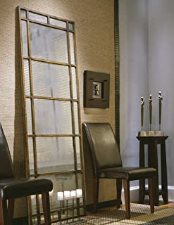 Intelligent Design Oversize Antiqued Window Mirror Smoked Glass | Wall Floor Leaner