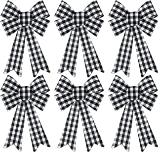 WILLBOND 6 Pieces Large Christmas Wreath Bow Buffalo Plaid Christmas Bow PVC Plastic Xmas Plaid Check Wrapping Bow for Christmas Indoor Outdoor Decorations (Black and White)