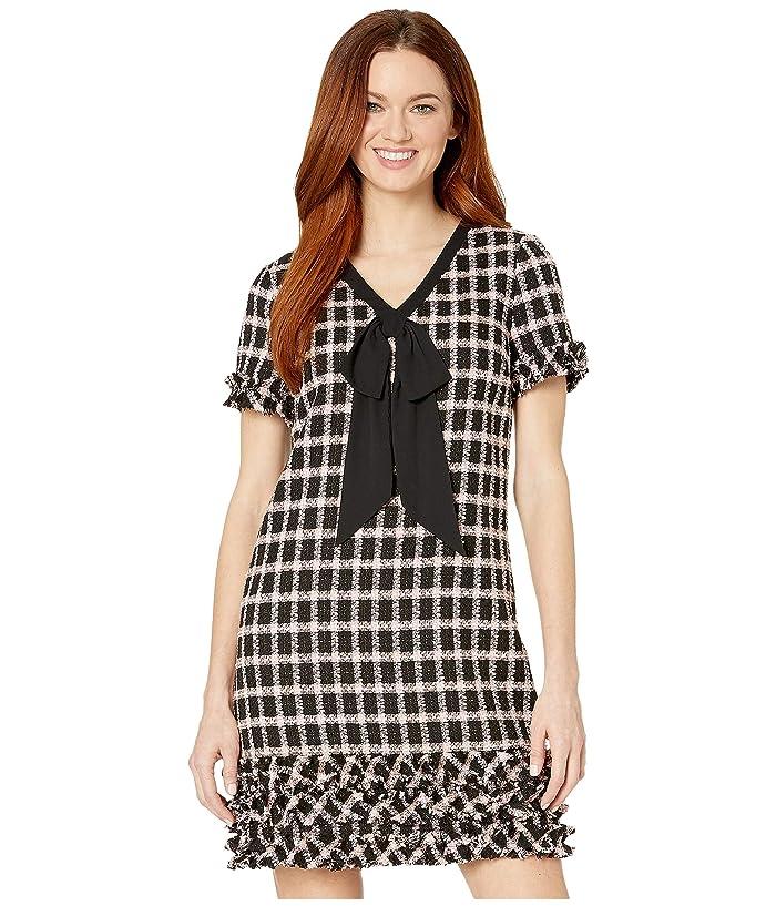 CeCe  Short Sleeve V-Neck Grid Tweed Dress with Tie (Rich Black) Womens Dress