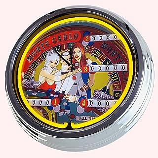 Reloj de neón Flipper Mote Carlo Bally de 1973 pulgadas, reloj decorativo con luz, estilo de los años 50, retro, reloj de ...