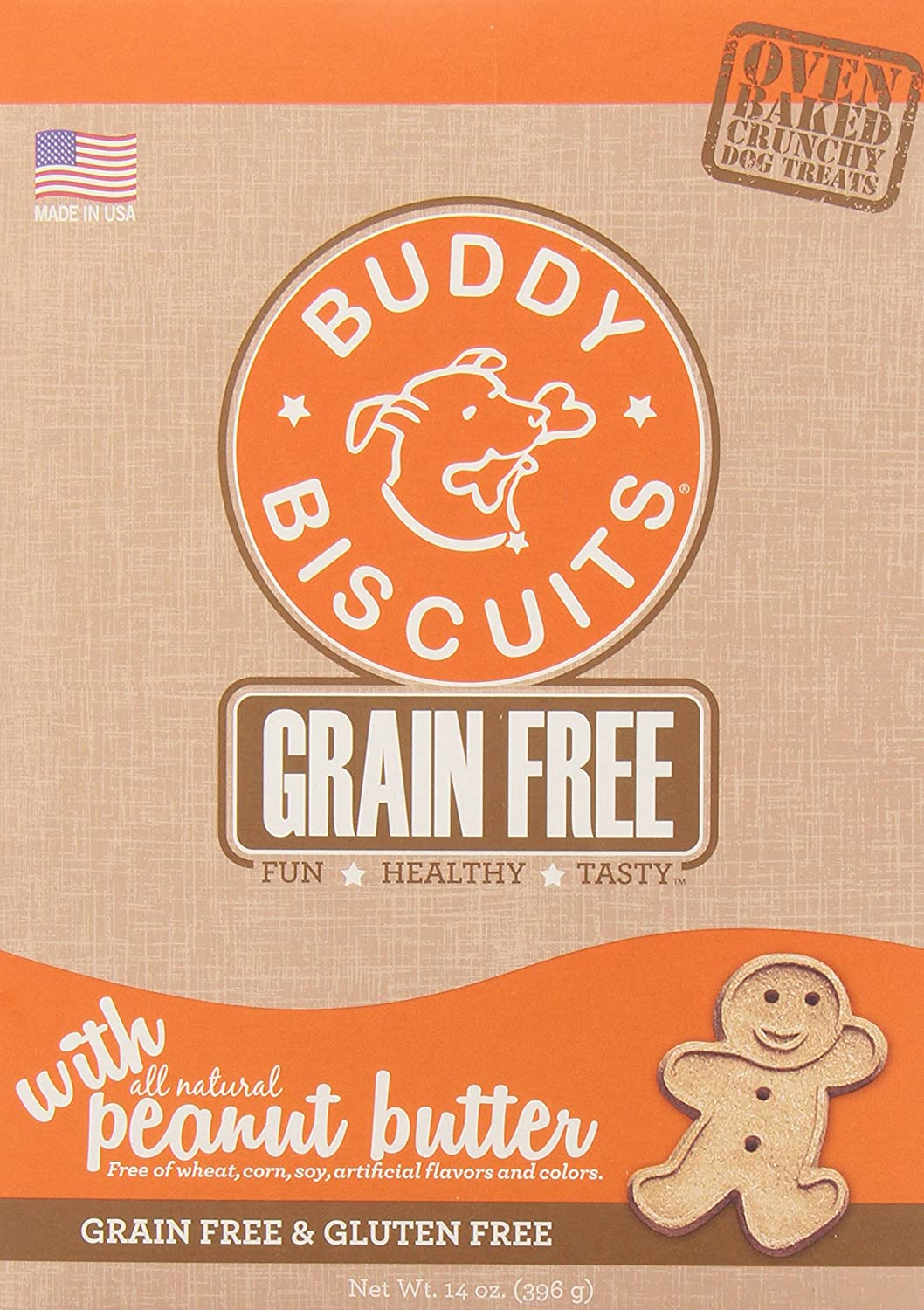 Cloud Star Grain Free Oven Baked Buddy Biscuits Dog Treats, Homestyle Peanut Butter, 14Ounce (Pack of 12)