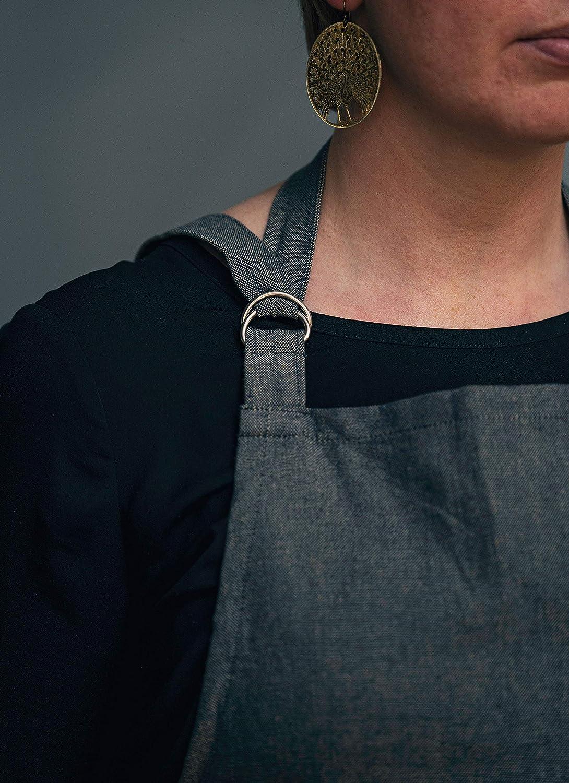 Schwarz 100/% Baumwolle LINUM SARA Traditionell Sch/ürze f/ür Erwachsene Frauen M/änner 70cm x 90cm Maschinenwaschbar