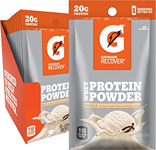 Gatorade Whey Protein Powder, Vanilla (Single Serve Pouch, Pack of 12, 20 grams of protein per serving)