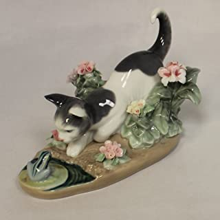 Lladro Figurine 1442, Kitty Confrontation, w/ flowers