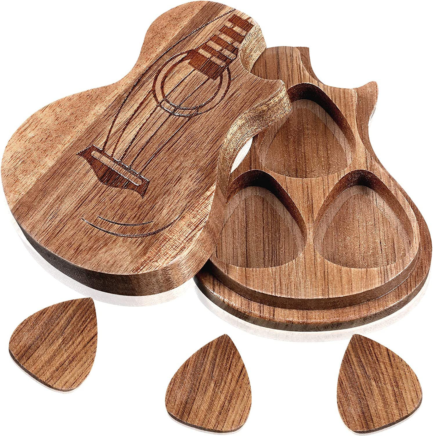 Guitar Wooden Box Holder Guitar Shaped Pick Box Wooden Collector with 3 Pieces Wood Guitar Picks Engraved Guitar Pick Box Classical Triangle Guitar Picks for Guitar Bass Music Instrument Present