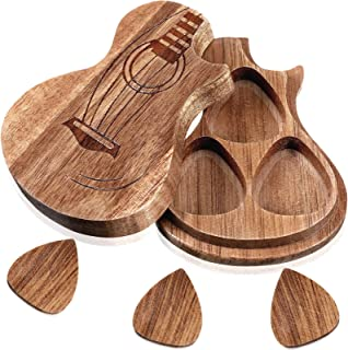 Guitar Wooden Box Holder Guitar Shaped Pick Box Wooden Collector with 3 Pieces Wood Guitar Picks Engraved Guitar Pick Box ...