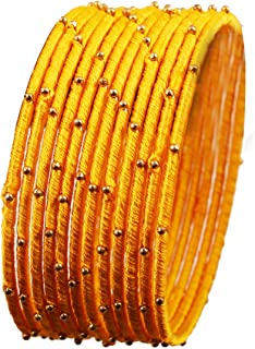Touchstone New Silk Thread Bangle Collection Indian Bollywood Handcrafted Faux Silk Thread Exotic Look with Golden Beads D...