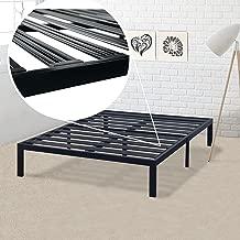 Best Price Mattress Model E Heavy Duty Steel Slat Platform Bed - Cal King/Box Spring Replacement/Mattress Foundation/Bed Raiser/Sturdy, Durable Black Metal Bed Frame/Modern Design