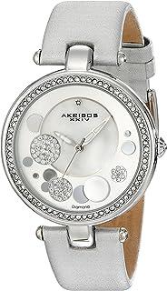 Akribos XXIV Women's AKR434 Diamond Sunray Diamond Dial Quartz Strap Watch