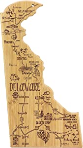 Totally Bamboo Destination Delaware State Shaped Serving and Cutting Board, Includes Hang Tie for Wall Display