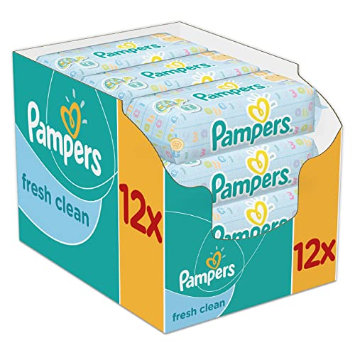 Pampers - Fresh Clean - Lingettes Bébé - Lot de 12 Paquets de 64 (x768 Lingettes)