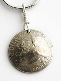 Domed Quarter Coin Keychain, U.S. Bicentennial Key Ring, 1976