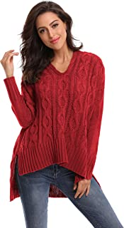 SHEKINI Women Sweaters Casual Long Sleeve Loose Cable Knit Jumpers Pullover
