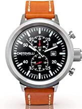 Chotovelli Men's Big Pilot Chronograph Watch Sapphire Italian Leather Band 747.100