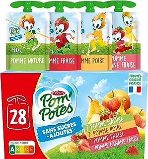 POM'POTES Compote Gourde Sans Sucres Ajoutés Pomme/Pomme Poire/Pomme Fraise/Pomme Banane Fraise 28x90 g