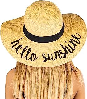 Funky Junque Women's UPF 50 Bold Cursive Embroidered Adjustable Beach Floppy Sun Hat