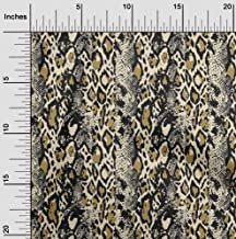 oneOone Cotton Poplin Twill China Ivory Fabric Leopard & Snake Animal Skin Dress Material Fabric Print Fabric by The Meter...