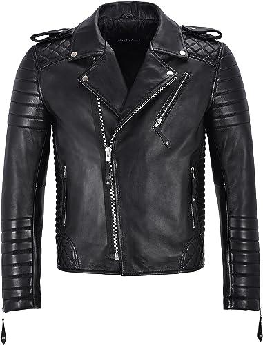 Brando Herren echte Schwarz Lederjacke Gesteppte Weißhe Slim Fit Biker Style 2250