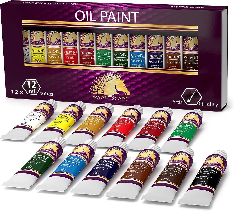 Oil Paint Set - 12 x 12ml Tubes - Lightfast - Heavy Body - Oil-b