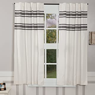 Piper Classics Silo Hill Charcoal Stripe Panel Curtains, Set of 2, 63